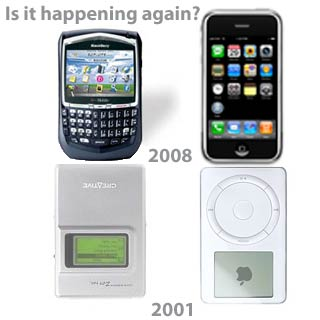Happening Again 2001, 2008 iPod Creative iPhone RIM