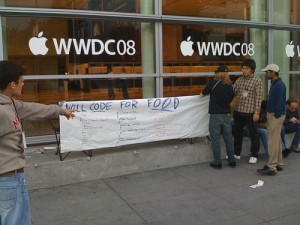Will Code For Food Sign WWDC 2008 Keynote Line
