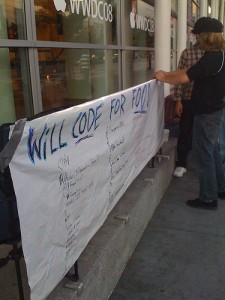 Will Code For Food Sign Close Up WWDC 2008 Keynote Line