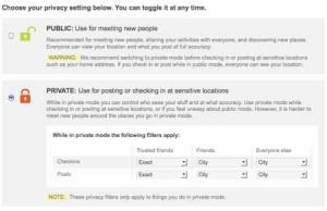 BrightKite Privacy Settings