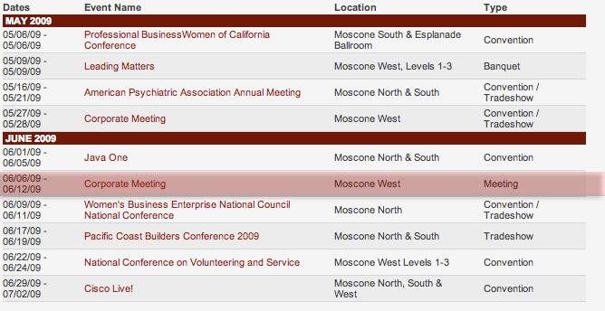 Moscone West WWDC 2009 Dates