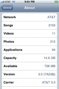 General Settings iPhone OS 3.0 Beta